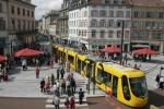 Een tram in Mulhouse, Frankrijk