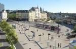 De tram op het plein voor het Centraal Station